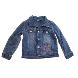 Hanna Andersson Floral Embroidered Jean Jacket 110